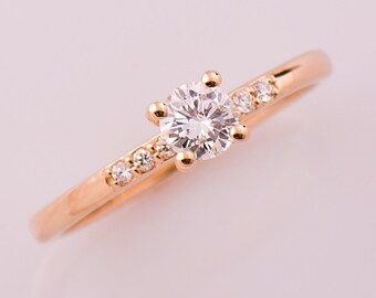 Solitaire Engagement Ring, Rose Gold Diamond Ring, 14K Rose Gold Ring, Modern Diamond Ring, Diamond Engagement ring, Delicate Ring