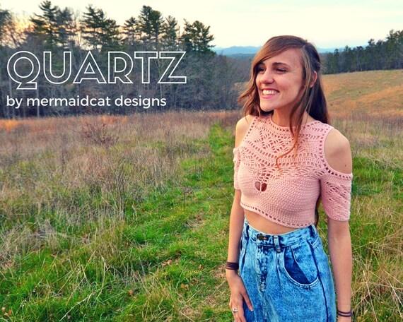 Crochet crop top pattern shoulderless -Quartz