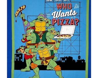"TMNT Fabric: Cartoon Ninja Turtles Who Wants Pizza 63247 100% cotton 43"" Fabric by the panel 35""  (SC330)"