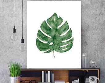 Monstera deliciosa green art print, palm print, leaves decor, leaf print, tropical art, plant art, minimlaist decor, botanical art - N5