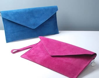 Personalised Suede Envelope Clutch Bag, Suede Bag, Customised Bag, Evening Bag, Gift For Her, Gift for Bridesmaid