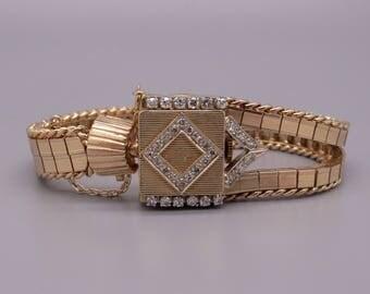"Amazing Retro Unia Sellita 14k Yellow Gold Diamond Manual Wind 17J Covered Bracelet Watch 6"""