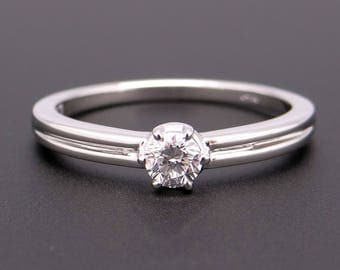 Beautiful 14k White Gold .27ct Round Brilliant Cut Diamond Solitaire Engagement Promise Ring Size 9.25