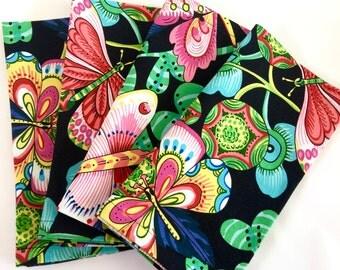 Large Cloth Napkins, Giant Butterflies, Jungle Floral, Vibrant Pinks, Greens, Indigo, Black.  Everyday Luxury, Reusable. Spring Napkins.