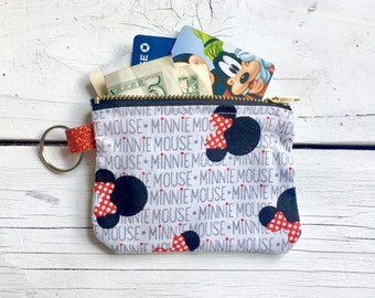Minnie Mouse Themed Pouch / Coin Purse with Split Ring (4 inches x 3 inches)