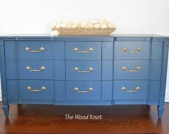 SOLD - Mid Century modern teal blue dresser with original gold handles.