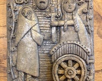 BRIG-002 - GRAY - Saint Brigid and the Leper Celtic/Irish Religious Plaque