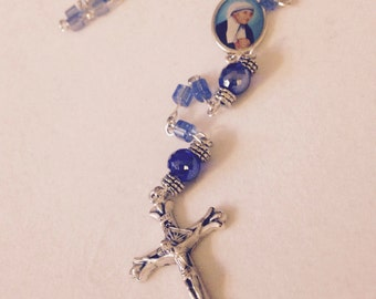 """Intense Blue St. """"Mother"""" Teresa Rosary"""