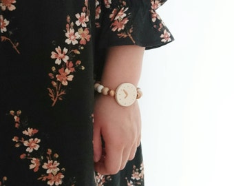 wooden kids toy watch - copper white natural beads