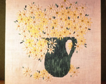 "Large Vintage 70's Crewel Pitcher of Daisies on Linen, 24"" x 24"""