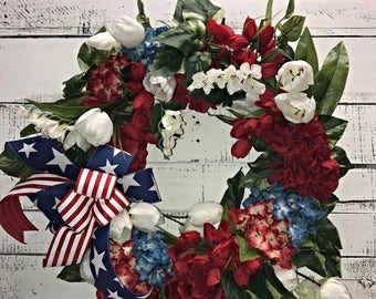 Stunning Patriotic Wreath, 4th of July, Memorial Day,Flag Day,Red White Blue Wreath, American Flag, Decorative Wreath, Home Décor