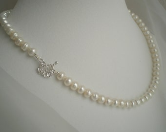 925 - White Freshwater Button Pearl Necklace with Sterling Silver Flower Toggle Clasp