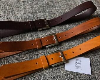 Leather Belt 'SQ Milan' 'Chocolate' - KasetaLeather