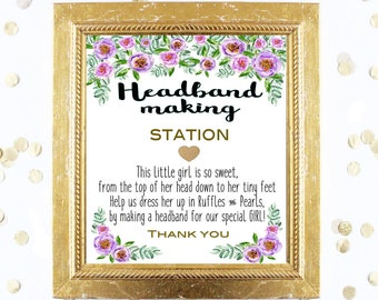 Baby Shower Sign - Headband Making Station 8x10 Sign - Purple Peonies Design a Headband Printable Instant Digital Download Baby Shower Girl