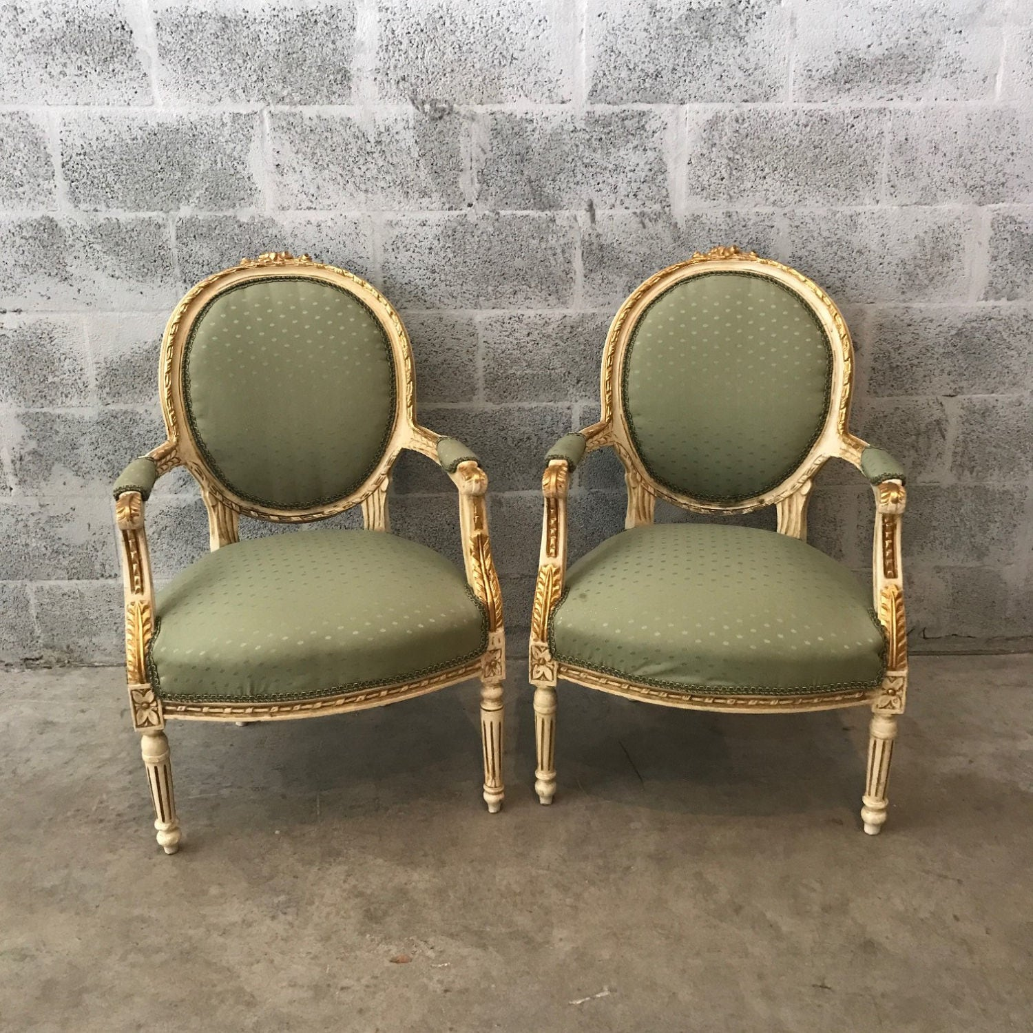 Antique french chair - French Chair French Louis Xvi Style Antique Furniture 4 Chairs Avail French Fauteuil Frame Cream Gold Leaf Rococo Furniture Baroque Green