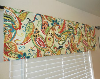 Window valance window curtains rod pocket valance kitchen valance floral valance paisley valance custom valance