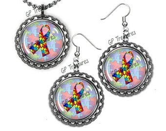 """Autism Ribbon Mix Flat Chrome Earrings and Ball and Chain Bottlecap Necklace 18"""" Set"""