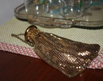 Vintage Whiting & Davis Gold Tone Mesh Evening Purse, Miser's Bag