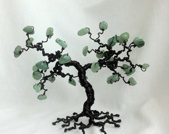 Aventurine tree sculpture, gemstone tree, metal bonsai, wire tree sculpture, green stone, beaded tree, bar decor, gothic, feng shui tree