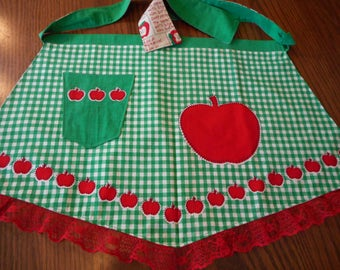 Vintage 1960's Apples and Green Gingham Apron - New