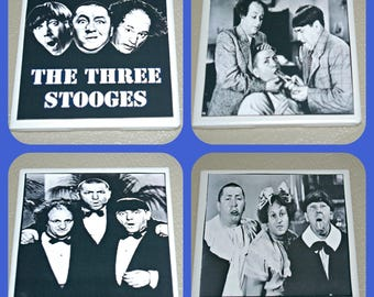 The Three Stooges - TV Comedy - Moe Larry Curly - Three Stooges Gifts - Three Stooges Decor - Tile Coasters - 3 Stooges - Bar Decor