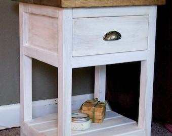 Custom Farmhouse Nightstand End Table w/ Drawer - Rustic Nightstand End Table w/ Drawer- Bedroom Table