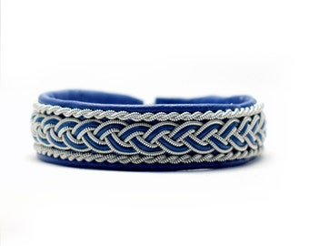 Swedish Sami Bracelet of pewter thread with 4 % silver, and reindeer leather - KIM