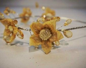 Handmade flower wreath hair piece