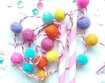 Cake Bunting, Pom Pom Cake Garland Party Multicoloured, Childrens Cake Decor