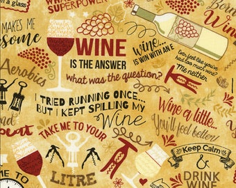 Wine Lover - Wine Words Fabric - Tan - Sold by the 1/2 Yard