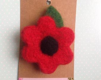 Needle felted Poppy brooch