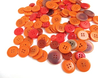 Lot 115 Vintage Coat Buttons Orange Red Bulk Large Antique 10 mm 22 mm Round Flat Assorted Mixed 2 Holes 4 Holes Mismatched Sewing Supplies
