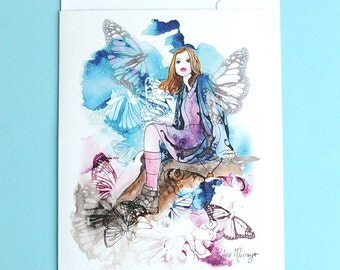 Butterfly Girl - Greeting Card