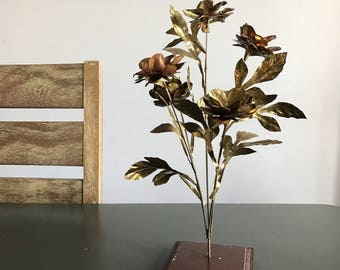Mid Century Brass and Copper Flower Arrangement / Vintage Metal Sculpture