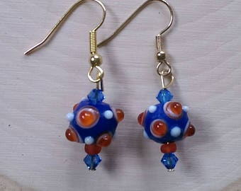 Blue and Red Bauble Earrings