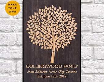 Personalised gift family tree sign Wood wall art family sign family gift for Men gift for Women gift for Husband Panel effect Wood wall sign