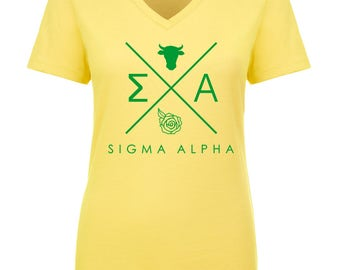 Sigma Alpha Infinity V-Neck Shirt - Kelly Green Print (unless noted otherwise)