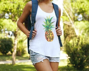 Phi Mu Muscle Cotton Modal Pineapple Tank Top