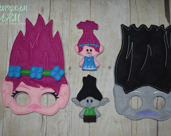 Girl and Boy Troll Mask and Finger Puppet Set