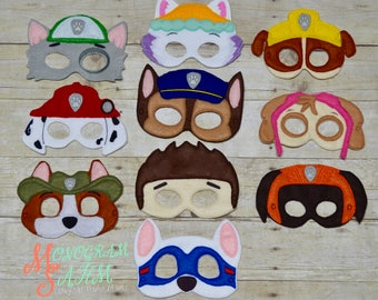 Deluxe Rescue Pup Mask Set, or individual. Adult, or Child