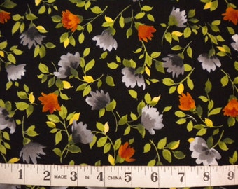 1 YD - Silver Garden by Exclusively Quilters (floral on black)