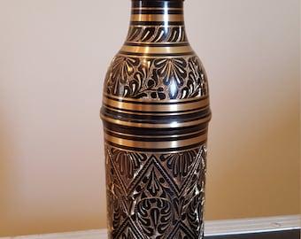 Decorative Etched Brass Bottle Holder