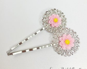 Pink Flower Hair Pin Silver Filigree Bobby Pin Pink Hair Accessory Pink Bridesmaid Gift Pink Wedding Party Gift Daisy Hair Clip Gift Under 5