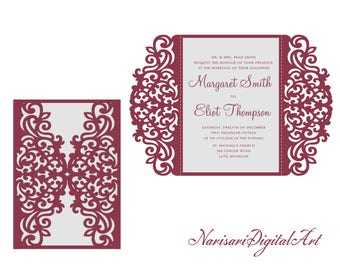 5x7'' SVG DXF CDR Gate-fold Wedding Invitation Card laser Cut Template, Quinceanera, vector file pattern, Silhouette Cameo, Cricut