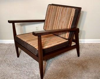 Mid Century Handcrafted Danish Modern Wood Lounge Chair