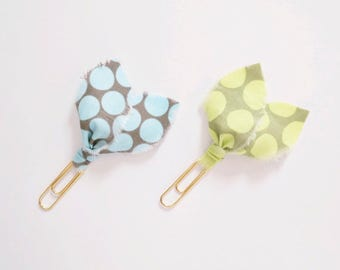 Ripped Fabric Planner Clips 2 Pack - Polka Dot Pointed