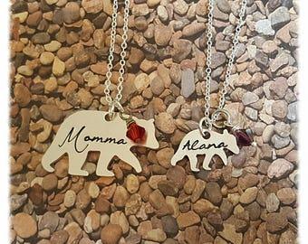 Momma bear baby bear, momma bear jewelry, Momma Bear necklace, Momma Bear, mother daughter jewelry, mom/daughter set, mom daughter sets
