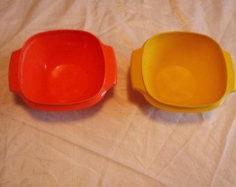 Vintage Tupperware Servalier Bowls Orange and Yellow #840
