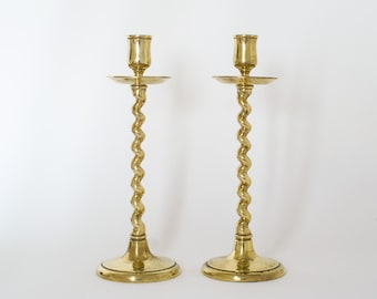Vintage Brass Candlesticks with Twisted stem