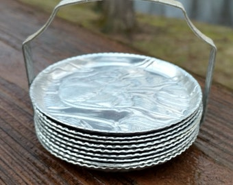 Set Aluminum Coasters with Holder/Floral Motif/Metal Coasters/Stacking/Embossed Metal Coaster/Coffee Table Coaster/Tulip Design